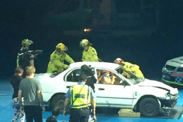 Students watched a live demonstration of a car crash